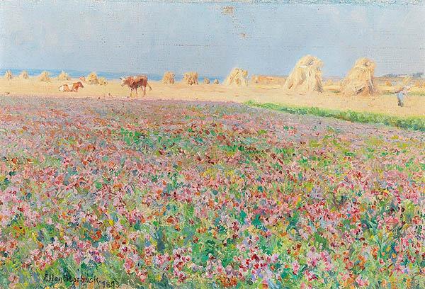 Ellen Starbuck Meadow Landscape in Bloom with Stooks of Corn